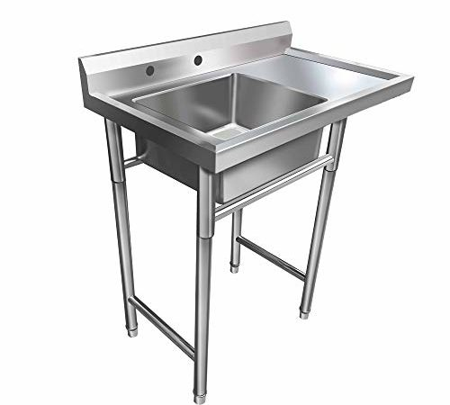 Bonnlo Commercial Stainless Steel Sink With Drainboard Heavy Duty Landry  Sink Utility Tub For Outdoor, Laundry Room, Workshop, Basement, Garage, ...